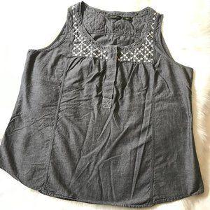 Eddie Bauer 100% Cotton Embroidered Tank Top, XL